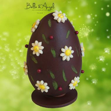 Œuf de Pâques en chocolat noir - Bello & Angeli Chocolatier - DE 13 A 20CM